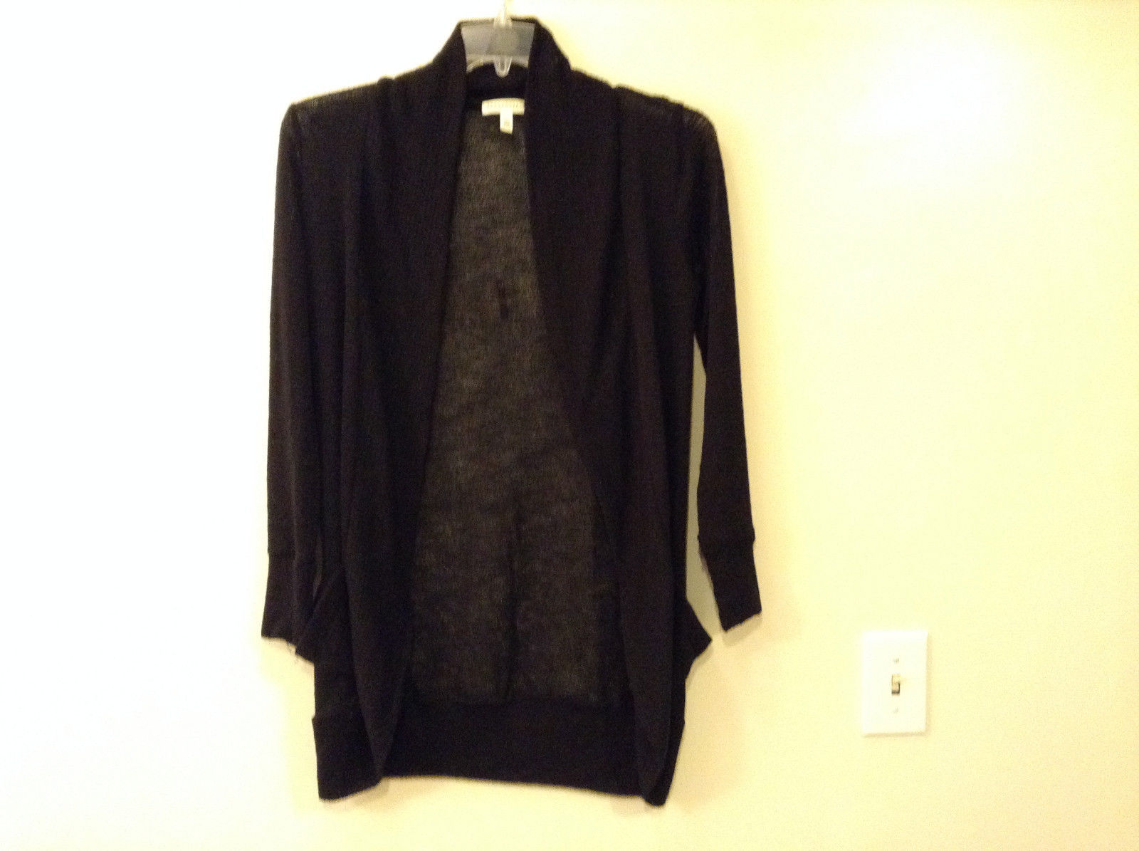 Aeropostale Women's Size S Layering Cardigan Sweater Long-Line Black Open Front