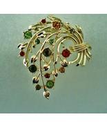 Vintage Coro Goldtone Floral Spray Multi-Color Rhinestone Pin Brooch - $15.00