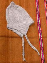 White peruvian Chullo,woolly hat made of alpaca wool  - $18.00
