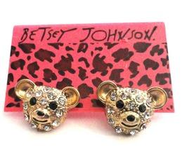 Betsey Johnson Bear Stud Earrings NEW Rhinestone Very Cute - $10.95