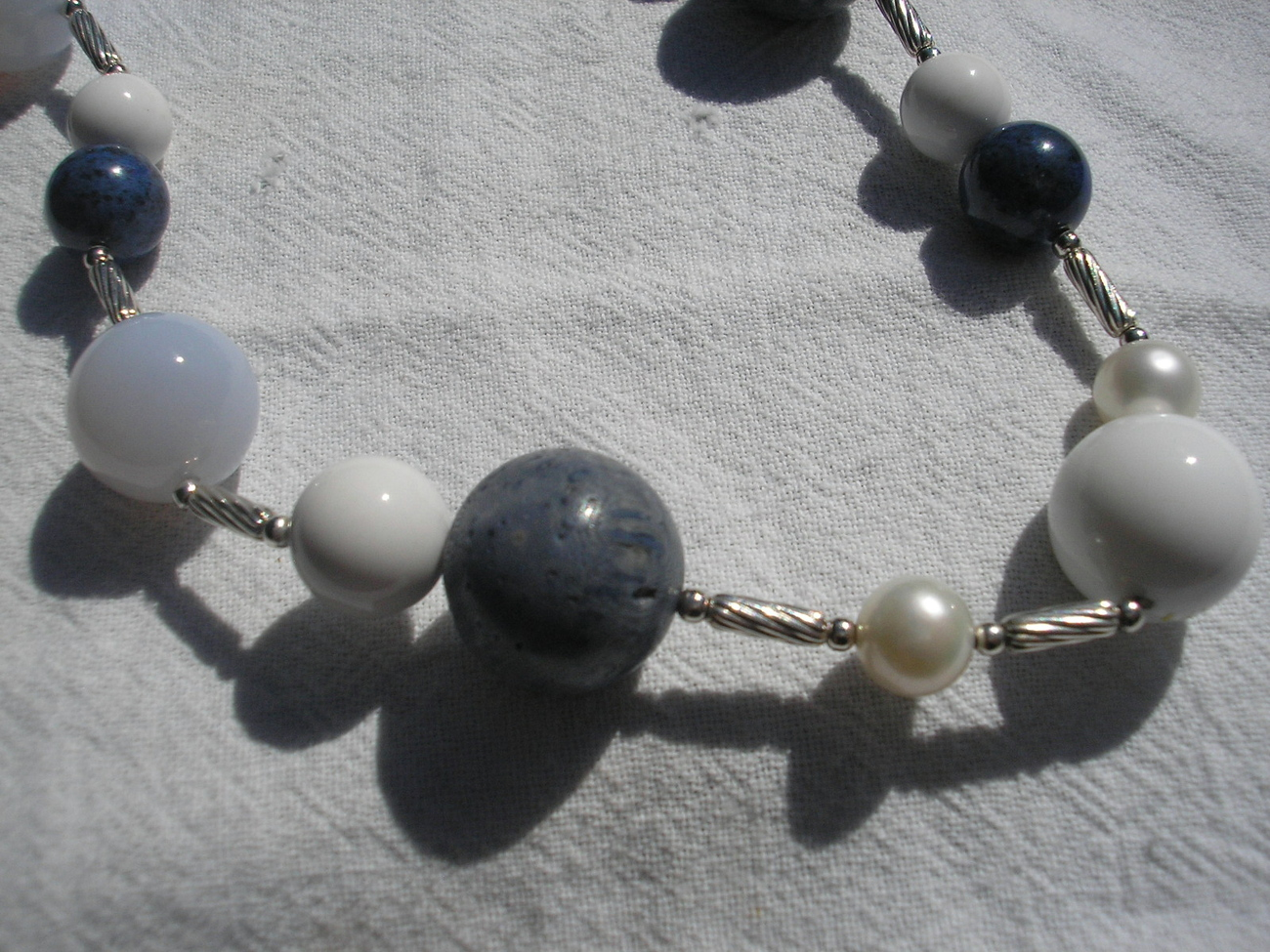 Yurman 33in White Agate, Blue Lace Agate,  Chalcedony Popcorn Bead Necklace
