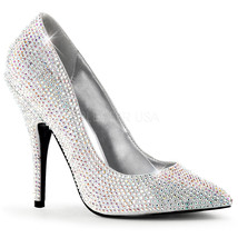 """PLEASER Sexy Shoes SED420RS+/SSA Silver Satin Rhinestone 5"""" Heels Pumps SZ 12-16 - $83.95"""