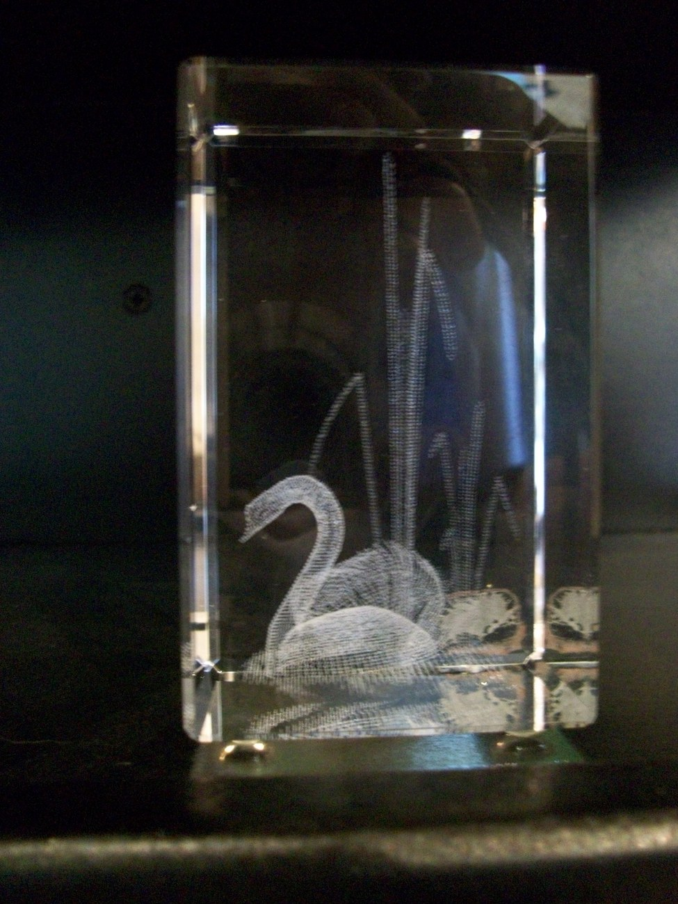 Crystal Paperweight, 3D Images, Swan, by Jaffa, New in Box