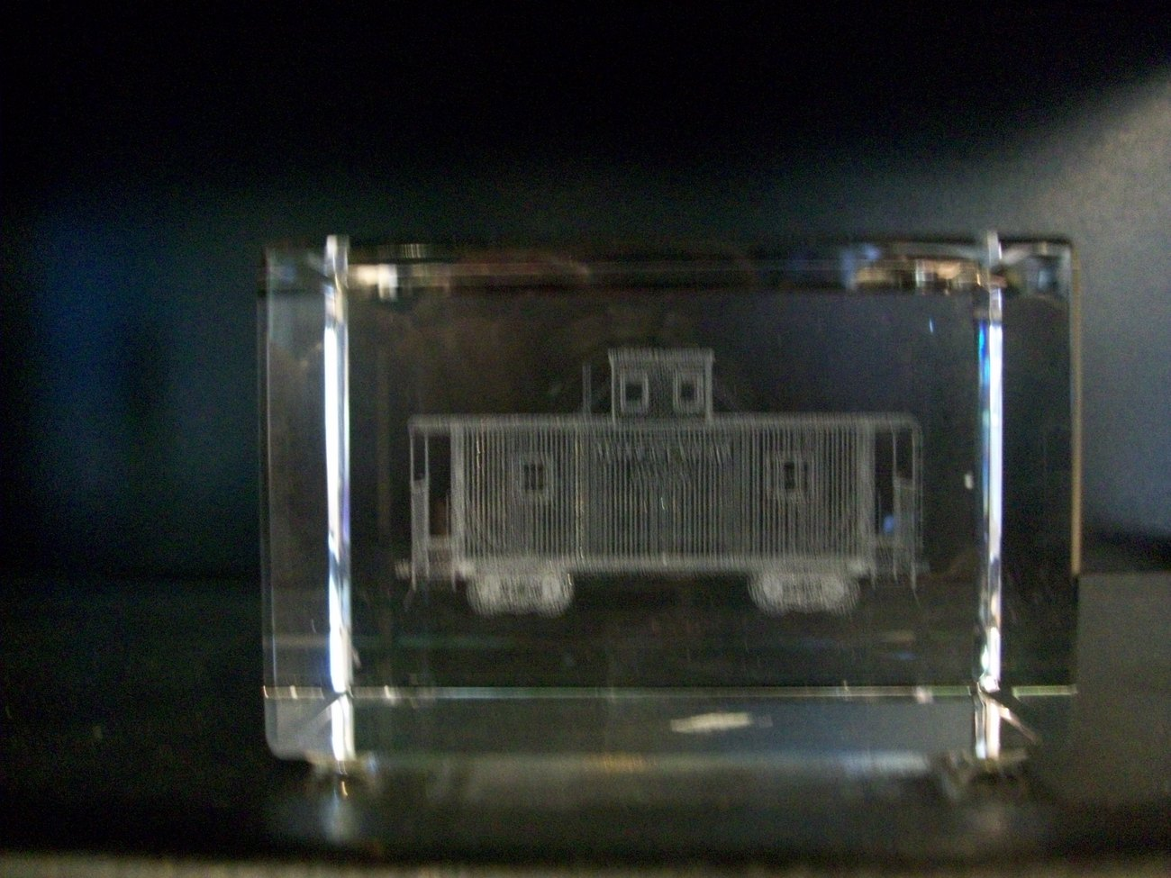 Crystal Paperweights, 3D Images, Caboose, by Jaffa, New in Box
