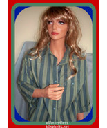 USA COTTON BUTTON DOWN OLIVE/ BLUE SHIRT TOP BLOUSE MEDIUM  - $12.99