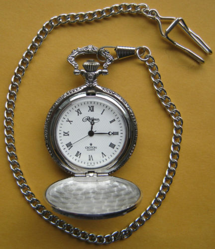 Reliance Croton Quartz Silver Tone Horseless Carriage Pocket Watch and Chain