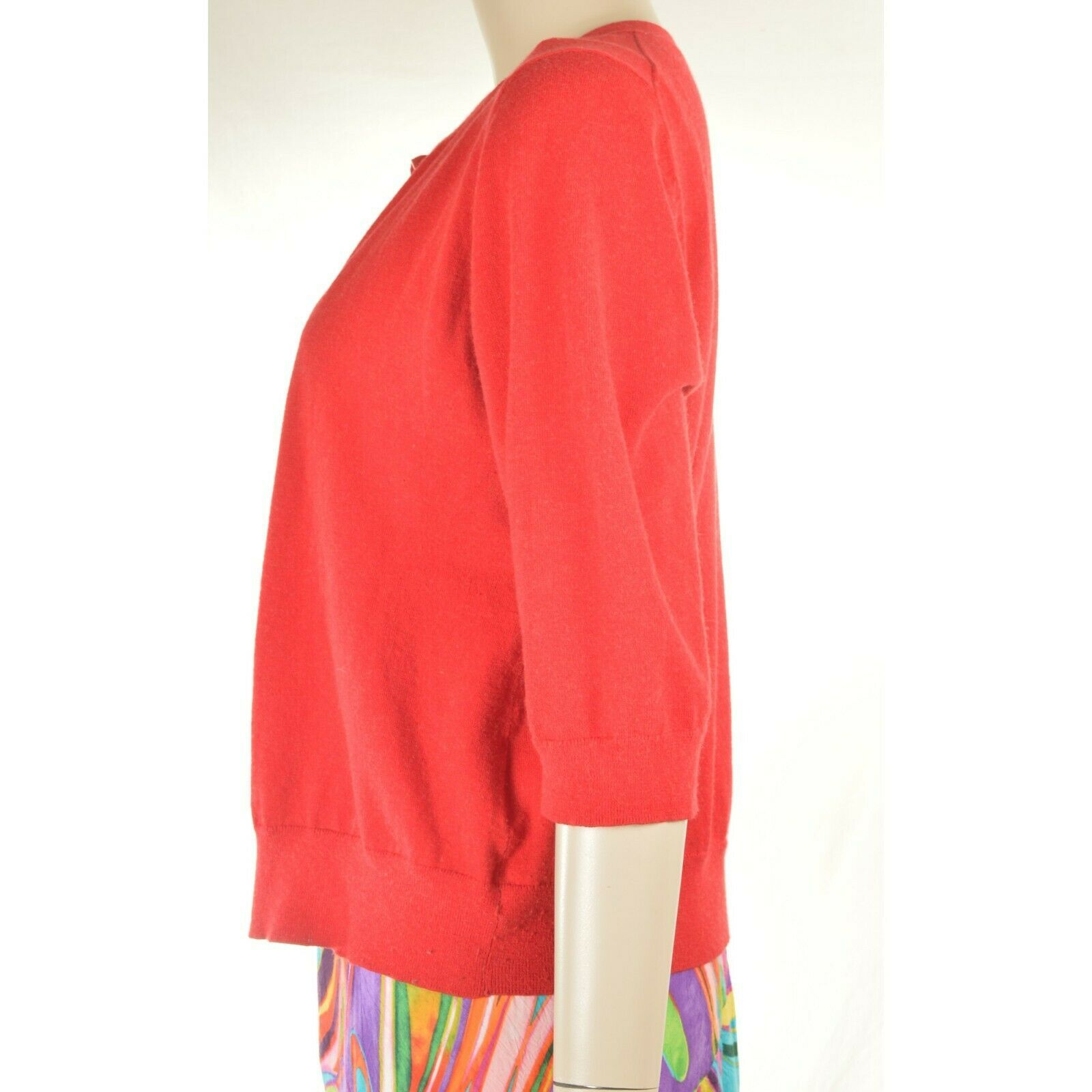 Eileen Fisher sweater M red cardigan 3/4 sleeves organic cotton cashmere blend image 11