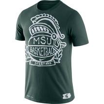 Michigan State Spartans Mens Nike Basketball Crest Dri-Fit Cotton T-Shir... - $23.99