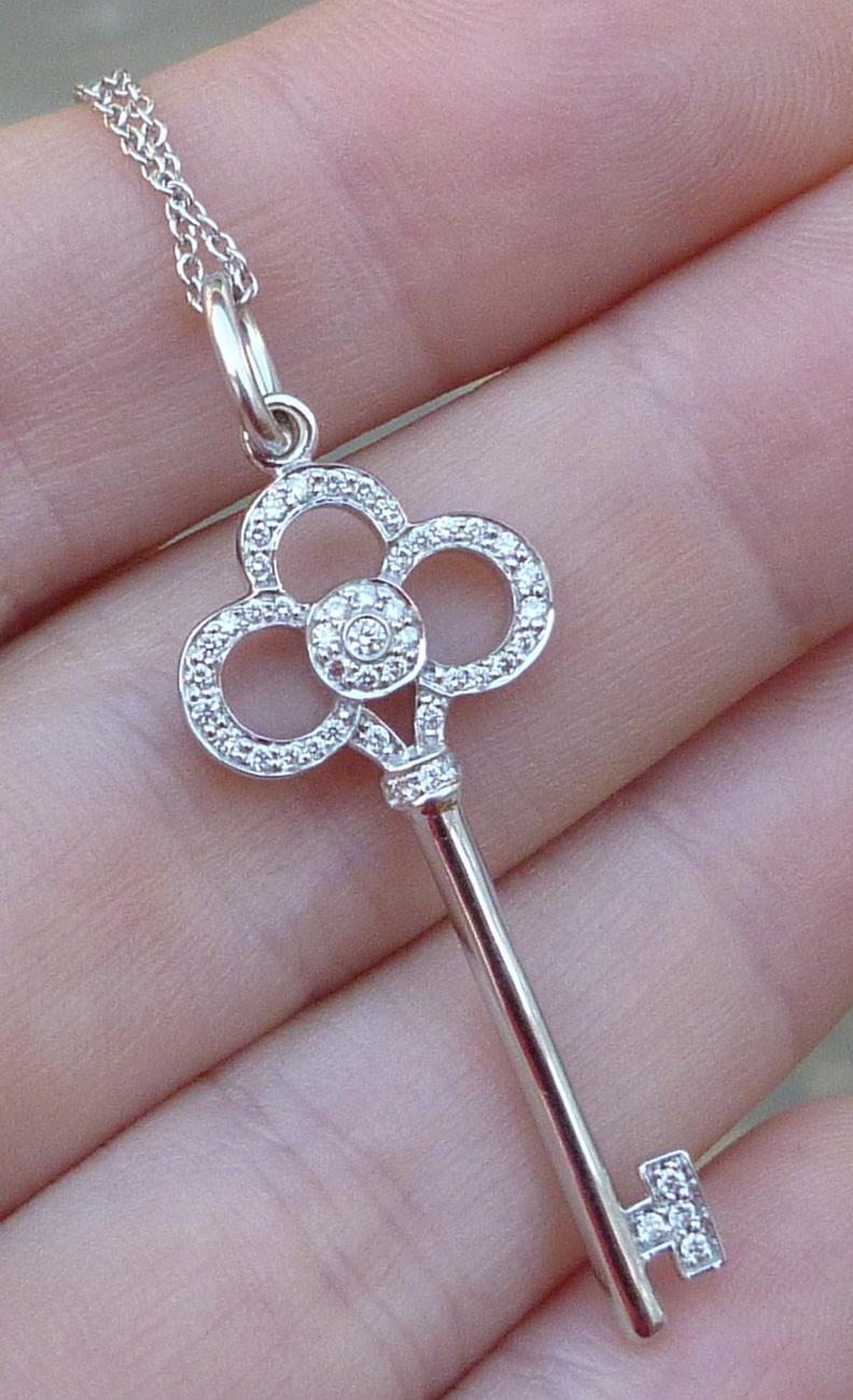 8efc83566 TIFFANY & Co. crown key pendant with diamonds 18k white gold +18K chain NEW