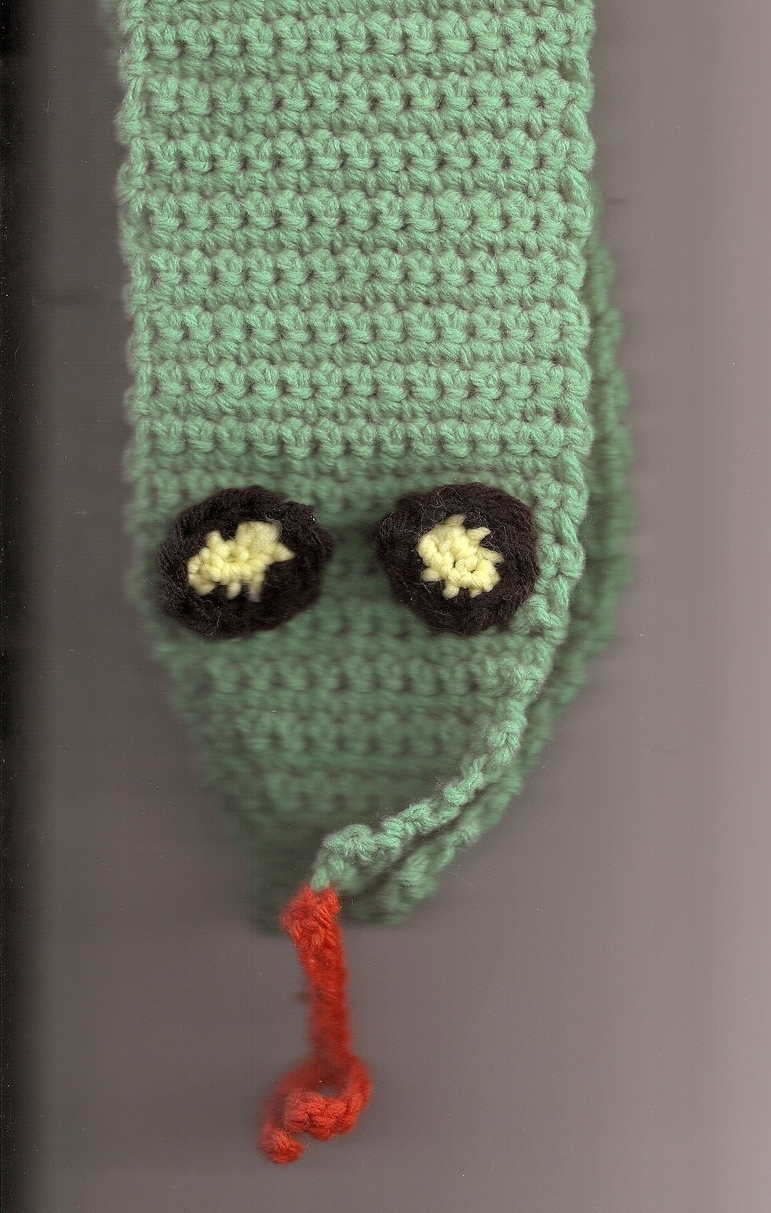 Crochet Green Snake Scarf Handmade Unique Pattern Warm ...