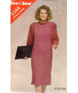 VTG BUTTERICK  See and Sew 5344 Pullover Dress Factory Folded 14-18 - $12.00
