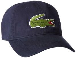 Lacoste Men's Navy Blue Gabardine Cotton Hat Big Croc Logo Strap Back Cap image 2