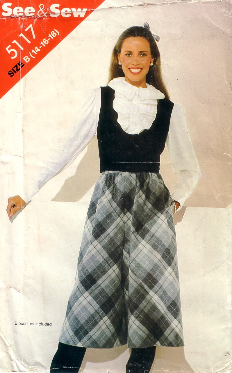 VTG BUTTERICK See & Sew 5117 Culotte and Vest 14-18 Uncut