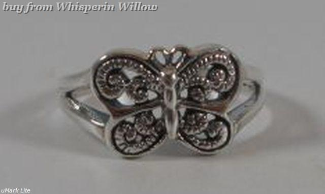Oxidized sterling silver butterfly tr 1