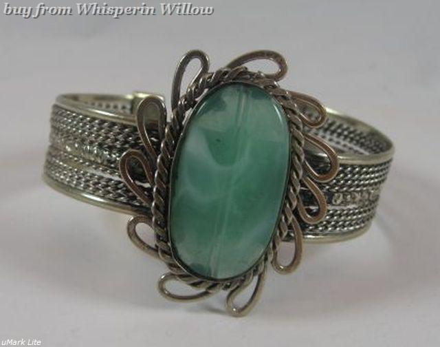 Aventurine stone metal cuff bracelet 1 3