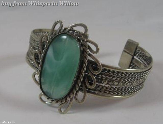 Aventurine Gemstone Antiqued Silver Cuff Bracelet
