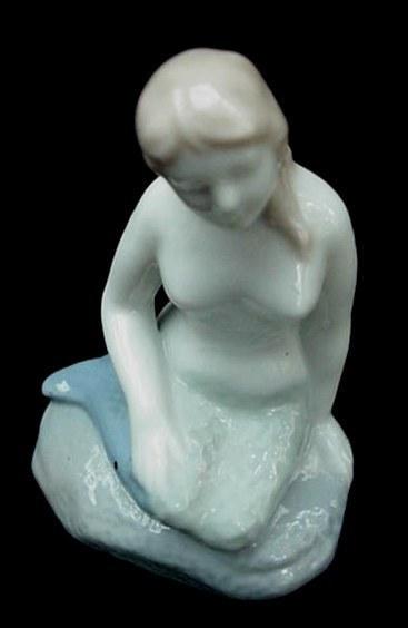 Elegant Old Porcelain Sea Mermaid Figurine Pottery