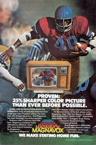 1979 Magnavox Color TV tv television football player print a
