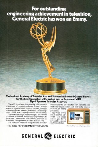 1978 GE General Electric Color TV Emmy trophy print ad