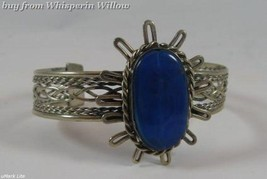 Lapis Lazuli Gemstone Antiqued Silver Cuff Bracelet - $12.95