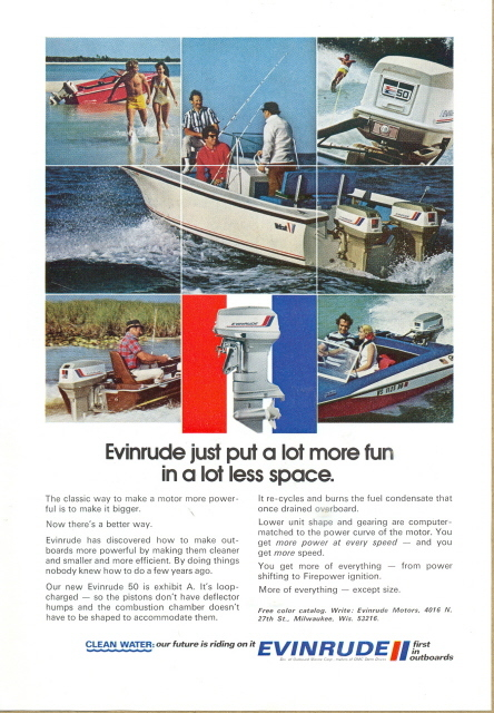 1972 Evinrude New Evinrude 50 Boat Motor in action print ad