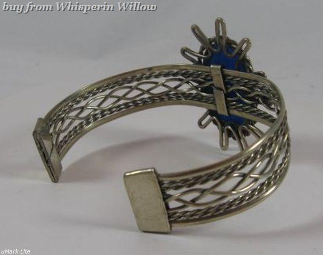 Lapis Lazuli Gemstone Antiqued Silver Cuff Bracelet
