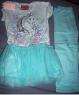 Girls Horse Legging Set Glitter SZ 5 Aqua Tutu Style NEW - $25.00