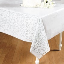 "Plastic Wedding Lace Printed Tablecloth (54"" x 108"")  Table Cover. - $6.64"