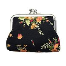 Panda Superstore Fashion Canvas Retro Black Style Change Purse Flower Pattern Co - $16.99