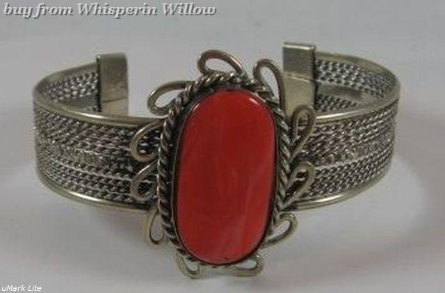 Coral stone metal cuff bracelet 1 5