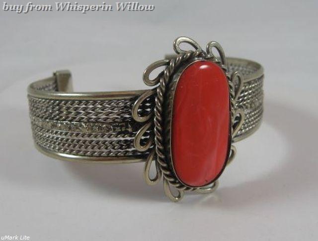 Red Coral Gemstone Antiqued Silver Cuff Bracelet