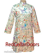 Gorgeous Womens Long White Satin Coat Fitted Embroidered Floral Jacket P... - €31,65 EUR