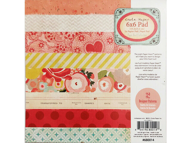 Crate Paper Paper Heart Collection 6x6 Inch Paper Pad #680014