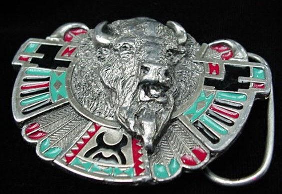 Old Bergamot Western Indian Style Bison Buffalo Belt Buckle