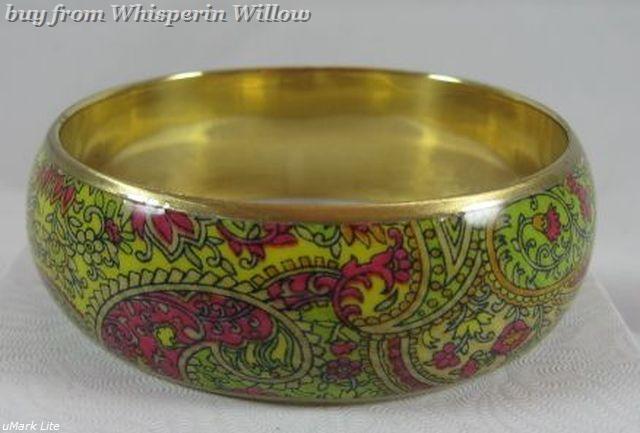 Bright paisley print gold bangle bracelet 1