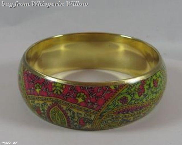 Bright Paisley Print Bangle Bracelet 1