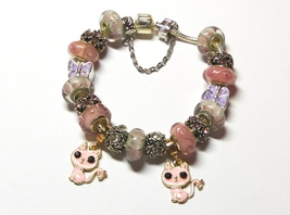 Pink Kitties Euro Bracelet by Sandi - $8.99