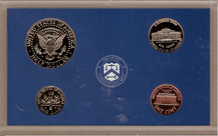 1999 S U.S. Mint Clad Proof Set 4 coin encased