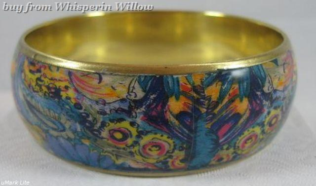 Bright paisley print gold bangle bracelet 3