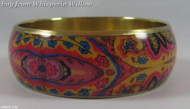 Bright Paisley Print Bangle Bracelet  2
