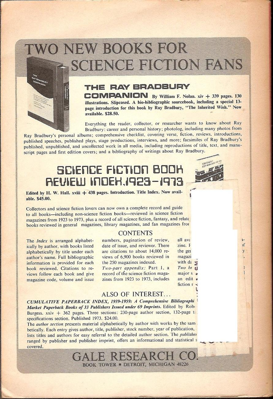 The Magazine of Fantasy and Science Fiction September 1975 back issue
