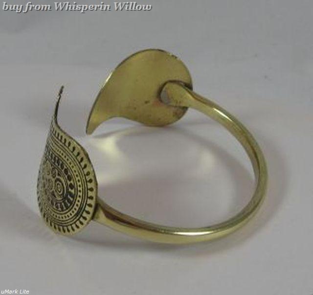 Unusual Paisley Hammered Goldtone Open Cuff Bracelet