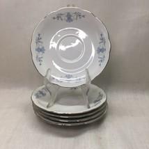 Vintage CMIELOW POLAND China Regency Pattern Set of 5 Saucer Plates - $19.79