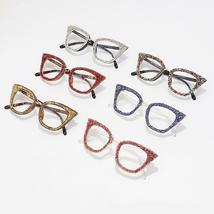 Diamond Cat Eye Glasses Frame Silver Gold Glitter Handmade Vintage Eye Glasses R image 6