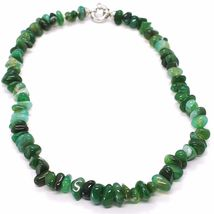 925 Silver Necklace with Agate Green Striated, 50 or 75 cm length image 3