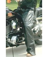 Black Leather Motorcycle Riding Chaps Lined Men Women Unisex Biker-Style - $30.95+