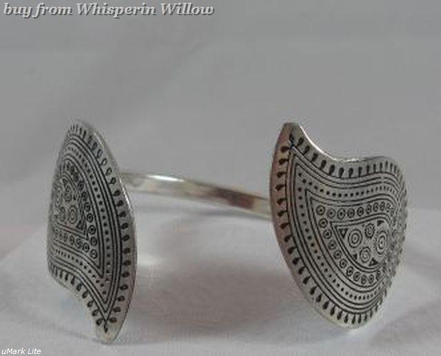 Unusual Paisley Hammered Silvertone Open Cuff Bracelet