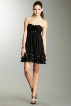 10 BETSEY JOHNSON Black Silk Sequined Floral Applique Babydoll Strapless... - $89.09