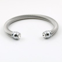MSX 2017 Hot Sale Elastic Charms Wire Stainless Steel Punk Twist Cuff Br... - $19.19