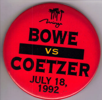 BOWE Vs COETZER July 18, 1992 MIRAE Las Vegas Pinback  Button